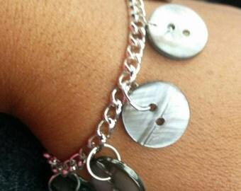 Grey Button Bracelet, Shell Bracelet