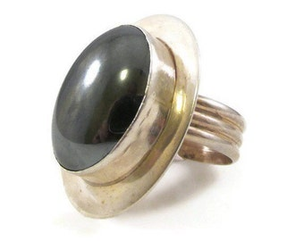 Designer Signed Sterling Silver and Hematite Ring - Size