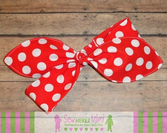 LUCY Big Bow Headband Red with White Dots PREEMIE, Newborn, 3-6 mo 6-9 mo 12-24 mo 2T-4T