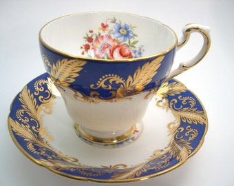 Blue Paragon Tea cup And Saucer, Cobalt Blue with Flowers, Blue and Gold Tea cup set.
