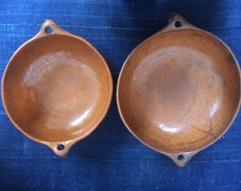 Pair of Vintage Mexican Clay Bowls