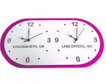 White and Pink Time Zone Clock - Select your preferred Town/Country