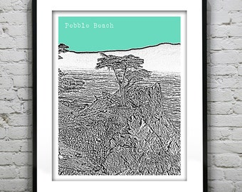 Pebble Beach California Poster Art City Skyline Print Lone Tree CA