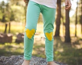 Mint and Yellow Heart Knee Patch Kids Leggings..Baby leggings..Childrens Leggings.Kids & baby..Leggings..Toddler SZ NB to 8