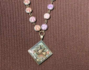 Peace Dove Pendant, Man in the moon Beads,