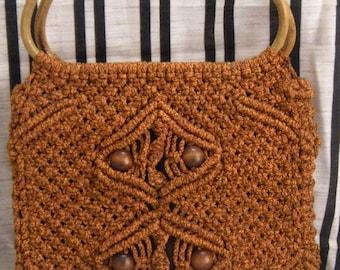 Two 1970's Purses- Orange Crochet Purse and Multi-Color Shag Purse