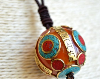 Hand Made Pendant Beads Necklace With Color Stones Resin and Six Word Mantra Copper Metal 24 Inches Cord