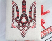 "Exclusive ukrainian handmade notebook with embroidery ""Truzyb"" (Trident)"