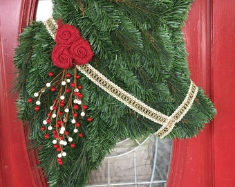 Red and White Berries Cow Wreath