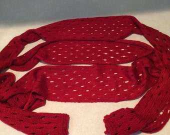 Hand Knitted, Extra Long, Red, Women's Scarf