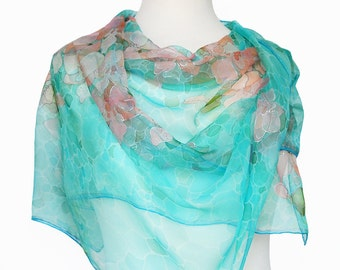 Turquoise silk scarf- Hand painted silk scarf- Orchids Scarf- Batik scarf- Womens scarf- Long scarf- Painted scarf- Mint scarf- Silk scarf