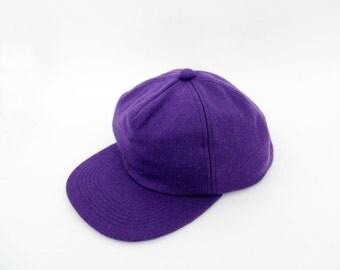Vintage hat // purple wool baseball hat