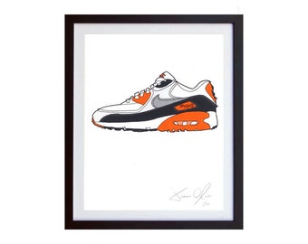 Nike Air Max 90 Infrared sneaker portrait kicks running white cement grey og cork small  Color Hand painted framed and signed by Jason Oliva
