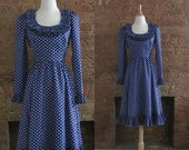 NY Fashion Week Sale 1970s Victor Costa blue polka dot dress • size small • Phyllis