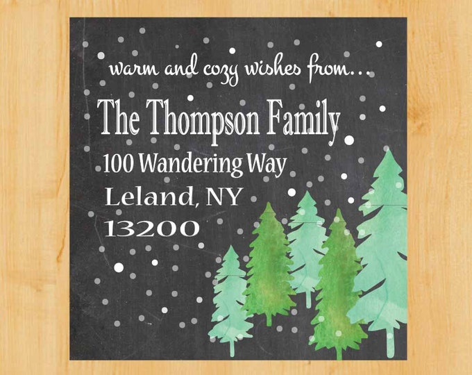 Holiday Forest Labels | Holiday Address Sticker | Holiday Square Labels | Winter Address Label | Christmas Address Label | Pine Trees Label