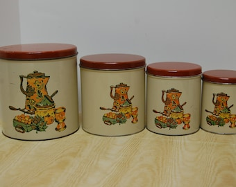 Vintage Metal Canister Set, Kitchen Canister Set, Decoware, Retro Kitchen