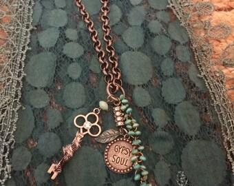 Boho necklace, bohemian necklace, gypsy soul, gypsy jewelry, turquoise jewelry, turquoise necklace, charm necklace, charm jewelry,
