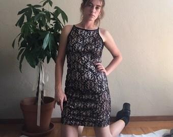 90s Black Lace Mini Dress