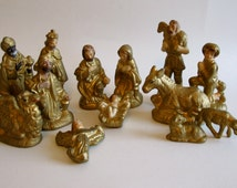 Gold  Christmas Nativity Set made in Japan So Wonderful 13 Pieces