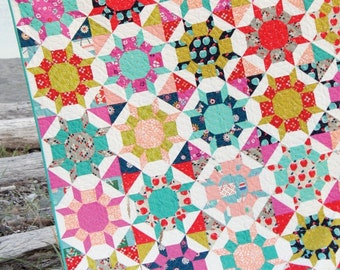 Shimmer quilt pattern by Cluck Cluck Sew - modern geometric, Allison Harris, wallflowers pattern, castle wall block, fat quarter quilt