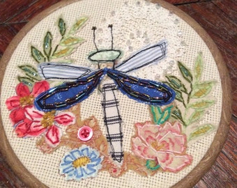 Dragonfly and flowers fabric collage, hoop art, wall hanging. Fabric art, embroidery, applique, stiching, home decor, picture, textile art