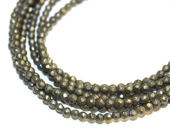 3.5mm Pyrite Faceted Fool's Gold Natural High Quality 16 Inch Strands, 140 beads
