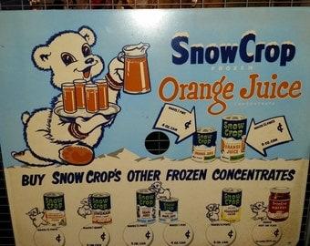 Vintage Teddy Snow Crop Bear Advertising Sign