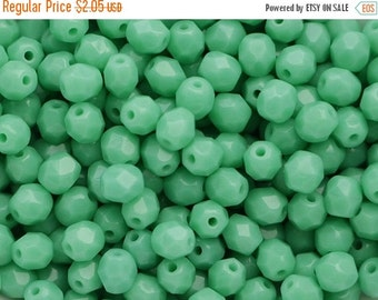 SALE -10% 50pcs Green Turquoise 4mm Czech Fire Polished Glass Beads Polish Faceted