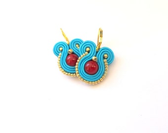 Dangle Drop Earrings -  Turquoise Earrings , Handmade Soutache Earrings with Coral