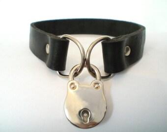 "3/4"" Black Hot-Stuffed Napa Latigo Leather BDSM Lockable slave sub Collar with padlock /locking sub choker"