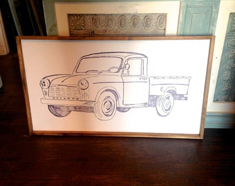 Vintage Inspired Hand Painted Truck Wall Hanging