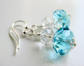 Aqua earrings, blue Swarovski drops, crystal jewelry stores, robin egg blue accessories for women, pastel earrings