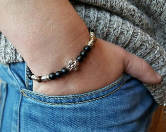 MENS CROSS BRACELET Mens Bracelets Mens Jewelry Onyx-Tiger Eye Bracelet Beaded Bracelet Bracelet Men  Onyx Bracelet Cross Bracelet