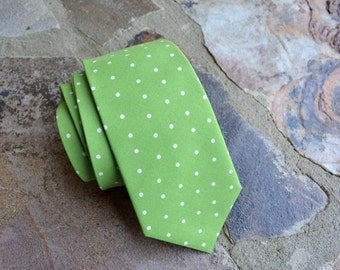 Mens necktie,apple green and ivory polka dots neckties