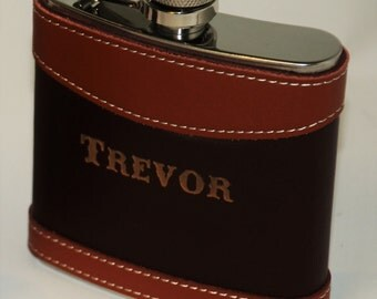 Two Tone Leather Flasks Wedding party favors, Groomsmen flask, Best man flask, engraved, Custom 6oz flask., flask, personalized
