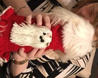 Crochet dog dress with Maltese dog Motif