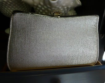 Silver metallic clutch with pearl embellished snap closure [MV]