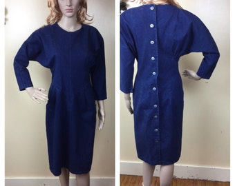 Denim Dress, 80s Indigo mini Dress Bodycon 1980s Denim Bandage Dress 80s clothing