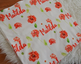 Personalized baby floral poppy swaddle blanket: baby and toddler personalized name newborn hospital gift baby shower gift