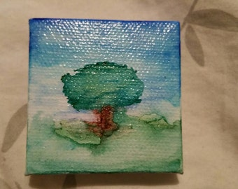 Miniature watercolor tree painting