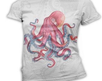Womens Octopus t-Shirts, Octopus t-Shirt, Octo t-Shirt, Scoop, Crew, and V-Neck, XSmall - 3X