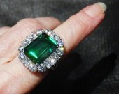 RESERVED Fabulous Statement Ring, Huge Emerald CZ, Sterling Silver, Vintage, 30 carats, 11.8 Grams