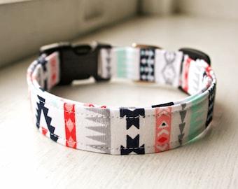 Tribal Dog Collar, Designer Dog Collar, Dog Accessories, Girly Dog Collar, Adjustable Fabric Collar, Southwest Native, Plastic Nickel Brass