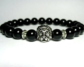 Onyx Lion Bracelet,  Mens Beaded Bracelet, Gemstone Bracelet, Stretch Bracelet, Black Bracelet, Boyfriend Gift, Girlfriend Gift