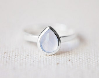 Blue Chalcedony Ring - Tear Drop Ring - Faceted Gemstone Ring - Stackable Ring