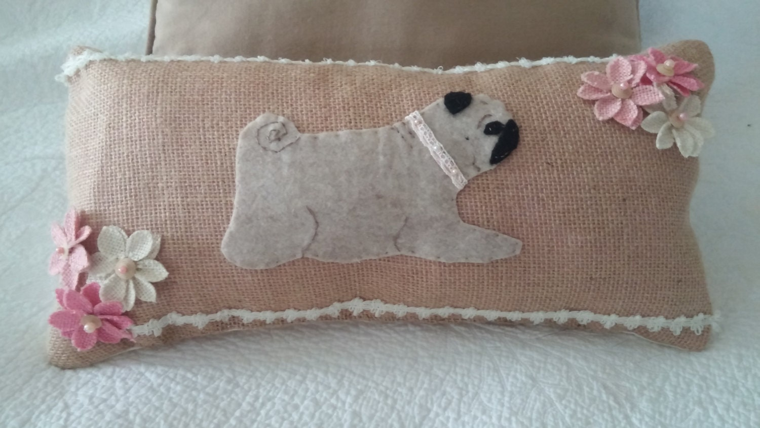 Reserved For Beth Handmade PUG Accent Pillow Shabby Chic