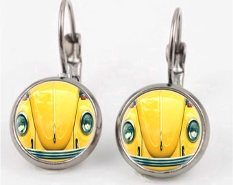 VW Beetle Photographic Earrings or Ring