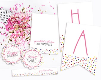 Sprinkle With Love BIRTHDAY - PARTY PACKAGE - 2 Banners, Cupcake Toppers, Straw Flags and Tent Cards