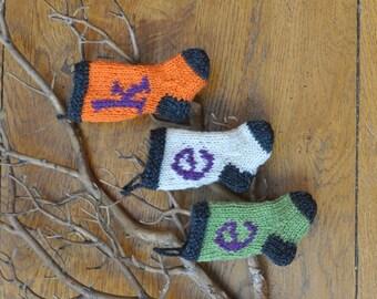 EEK Halloween Hand-Knit Christmas Stocking Ornaments