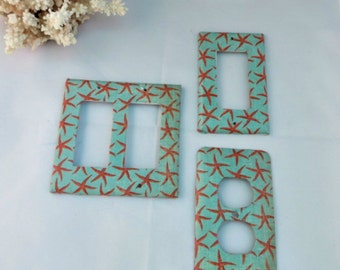 Set of 3 Aqua Starfish electrical outlet covers  for beach home decor_switch plate covers